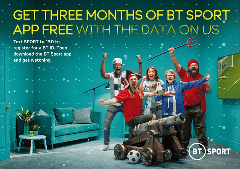 BT Sport. Get three months of BT Sport app free with the data on us. Text SPORT to 150 to register for a BT ID. Then download the BT Sport app and get watching.